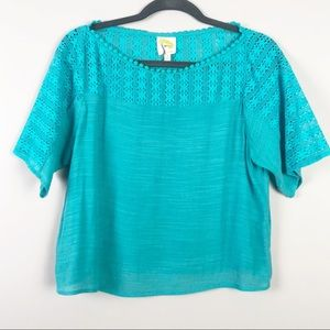 Anthropologie | Fig & Flower | Lace Accent Top